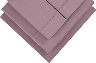 Infinite Weaves 300 TC Hemstitch Rose Bed Sheet & Pillowcases Set- Long Staple Cotton, Soft Sateen Weave, Deep Pockets to Fit Any Mattress, 4pc Full Bed Sheet Set, 1 Fitted, 1 Flat, 2 Pillow Cases