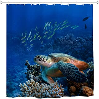 Goodbath Turtle Shower Curtain, Sea Turtle with Fishes and Coral Reef Underwater Ocean Shower Curtain Set with Hooks Bathr...