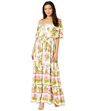 American Rose Hope Off-the-Shoulder Ruffle Maxi Dress (Cream/Multi) Women