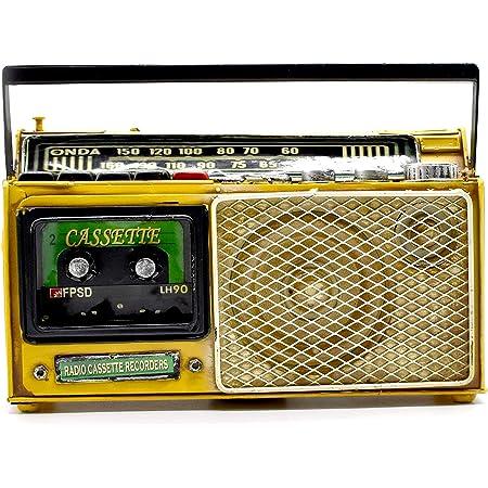 takestop® Tirelire décorative radio style vintage en fer 27 x 8,5 x 20 cm (Gaune)