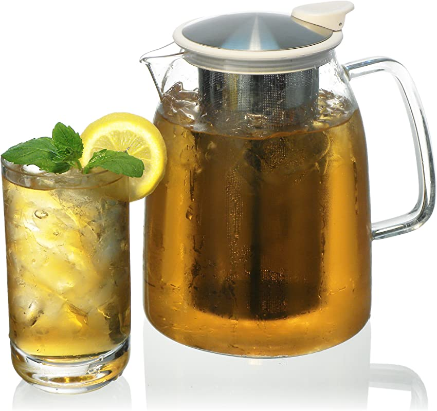 FORLIFE Mist Iced Tea Jug With Basket Infuser 68 Ounce White