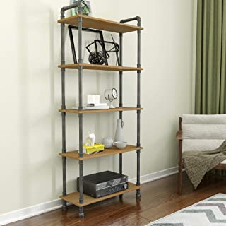 Barnyard Designs Furniture 5-Tier Etagere Bookcase, Solid Pine Open Wood Shelves, Rustic Modern Industrial Metal and Wood ...