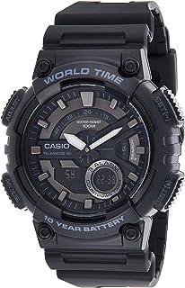 ساعة يد من كاسيو للرجال عرض انالوج-رقمي من الراتنج بمينا بلون اسود - AEQ-110W-1BVDF