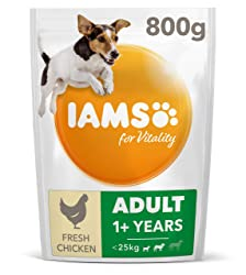 IAMS for Vitality Small/Medium Breed Adult Dry Dog Food with Fresh Chicken, 800 g