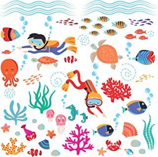 Diving into The Sea & Underwater Creatures Peel & Stick Wall Art Sticker Decals for Nursery or Kids Room