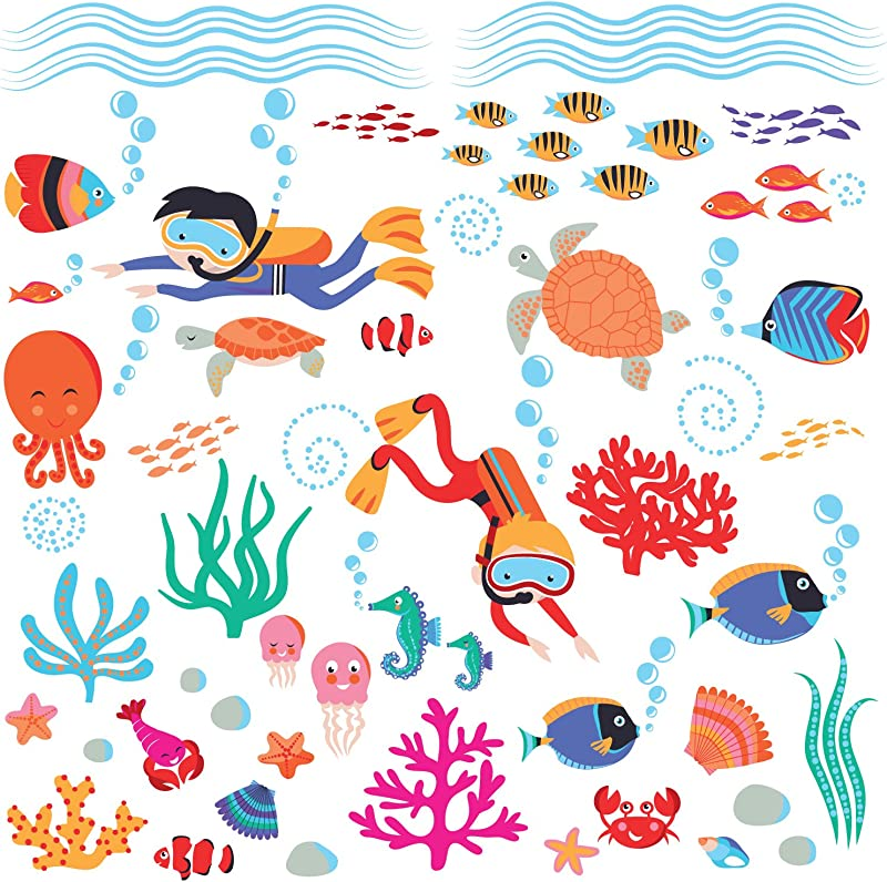 Diving Into The Sea Underwater Creatures Peel Stick Wall Sticker Decal For Nursery Or Kids Room