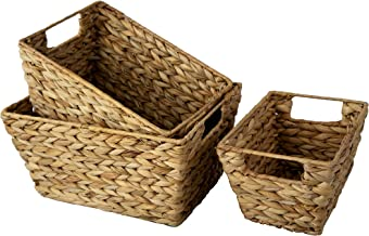 Set 3 Water Hyacinth Wicker Storage Baskets for Home Organization and Decor | Closet Woven Shelf Baskets for Shelves with ...