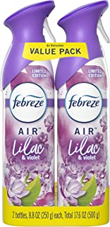 Febreze Air Odor-Eliminating Air Freshener, Lilac & Violet, 2 Ct, 8.8 Fl Oz Each (17.6 oz Total)