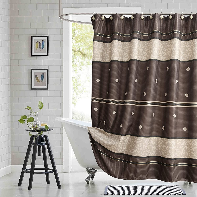 Fashionable BESTRIPES Fabric Shower Brown Ranking TOP2 Tan Curtain