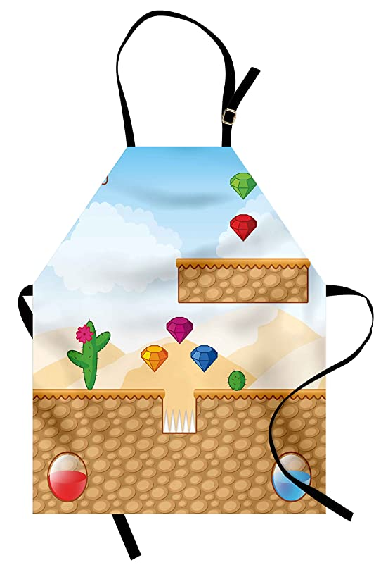 Lunarable Kids Apron, Arcade Platformer Fun Game World Cartoon Desert with Digital Diamond Figures Blocks, Unisex Kitchen Bib Apron with Adjustable Neck for Cooking Baking Gardening, Multicolor
