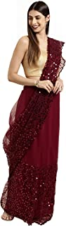 Womanista net with Blouse Piece Saree (TI1326_Burgundy_One Size)