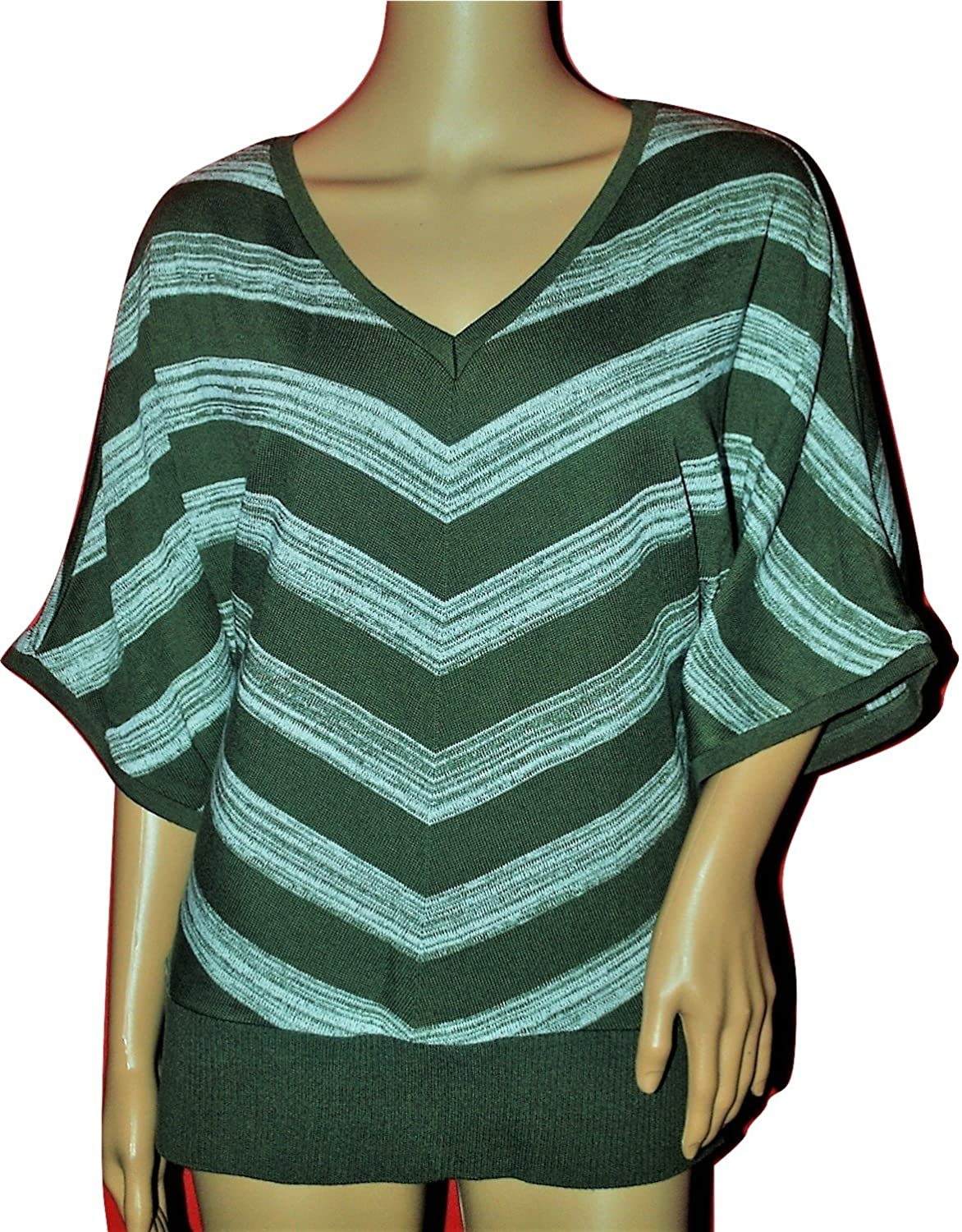 Amy Byer AGB Women's Chevron Striped V Neck Sweater Olive Multi Large