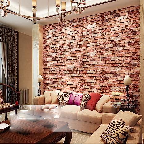 Qihang Red Brick Wall Modern Wallpaper Textured Bricks Pvc Wallpaper 0 53m X 10m 5 3 Amazon Com