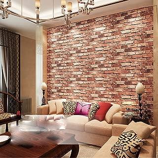 QIHANG Red Brick Wall Modern Wallpaper Textured Bricks PVC Wallpaper 0.53m x 10m=5.3㎡