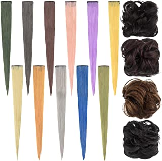 COOWAS 15pcs Hair Piece Multi-colors Hair Extensions Ponytail Rubber Band Updo Scrunchies Curly Wavy Messy Synthetic Chign...