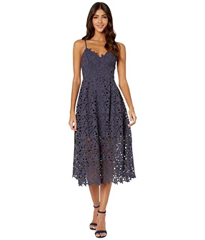 ASTR the Label Lace A-Line Midi Dress (Navy) Women