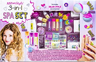 Just My Style 3-in-1 Spa Set Horizon Group USA, Shimmery Lip balms Bath Bombs & Nail Art