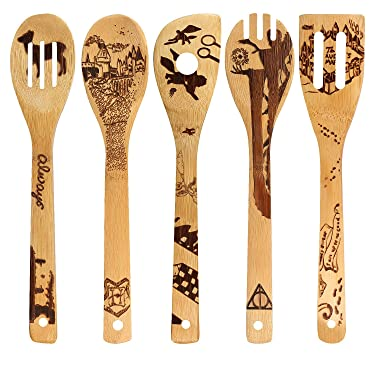 Organic Bamboo Spoons Cooking & Serving Utensils Burned Wooden Spoon Carved Spatulas Kitchen Utensil Set Great Gift For Chefs & Foodies Magic Pattern (Set of 5)