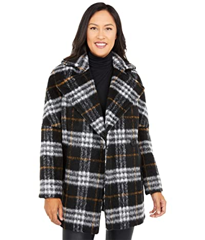 Calvin Klein Wool Peacoat with One-Button Closure and PU Trim Pockets (Black Multi) Women