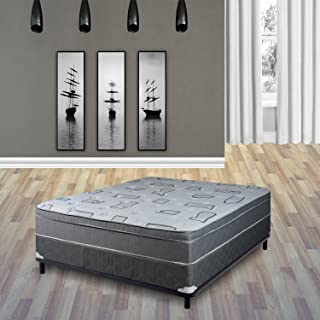 Continental Sleep, 10-Inch Meduim Firm Foam Encased Hybrid Eurotop Pillowtop Innerspring Mattress And