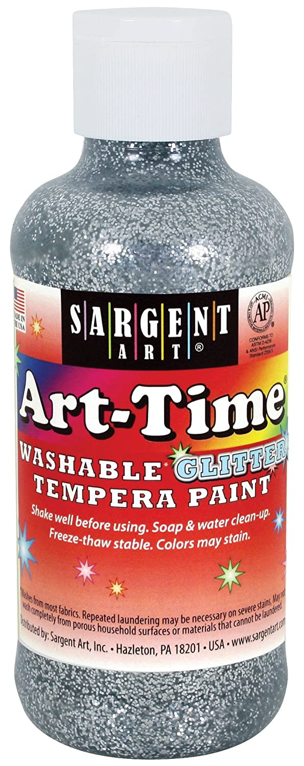 Sargent Art 17-3982 8 Ounce Art-Time Silver Washable Glitter Tempera Paint