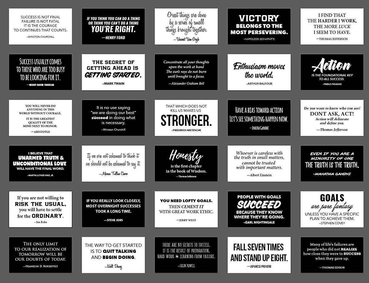 30 Elegant Black and White Motivational Quote Cards, Business Card Size with Gloss Stock, Back of Card is White for Personal Message, Inspirational Notes for School Lunchbox, Notebook or Backpack