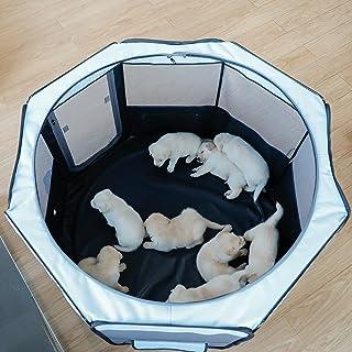petsfit 折りたたみサークル 八角形 プレイサークル 犬猫兼用 分娩室 メッシュ 屋根付き 屋内 屋外 収納バッグ付き S/M/L ピンク/ブラウン/ブルー 選択可能