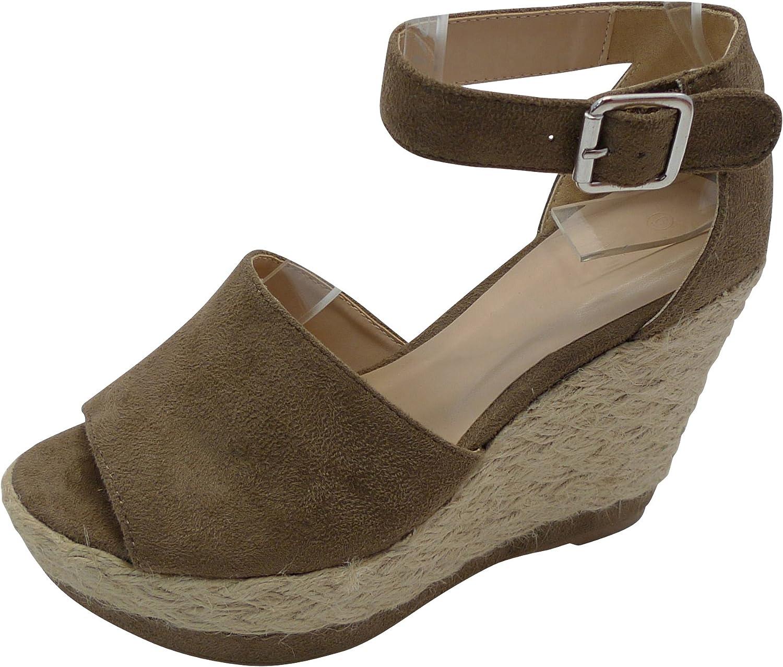 Cambridge Select Woherrar Peep Peep Peep Toe Ankle Strap Brade Rode Esfarille Platform Wedge Sandal  butiken gör köp och försäljning