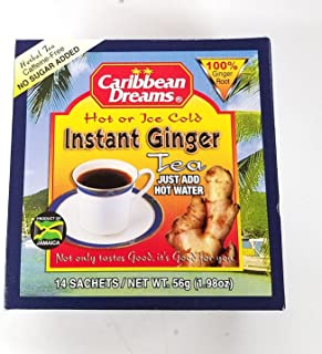 Caribbean Dreams Instant Ginger Tea Un-Sweetened 14 Sachets (pack of 6)