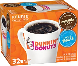 Dunkin' Donuts Original & French Vanilla Variety Pack, K Cup Pods, for Keurig Makers, 32 Count (Pack of 4)