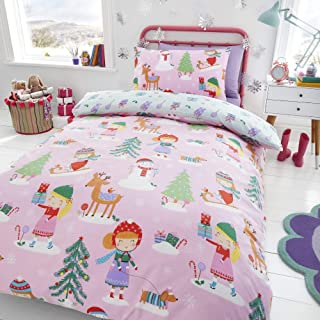 Happy Linen Company Girls Festive Christmas Tree Ice Skating Sausage Dog Pink UK Double/US Full Reversible Duvet Cover Bedding Set