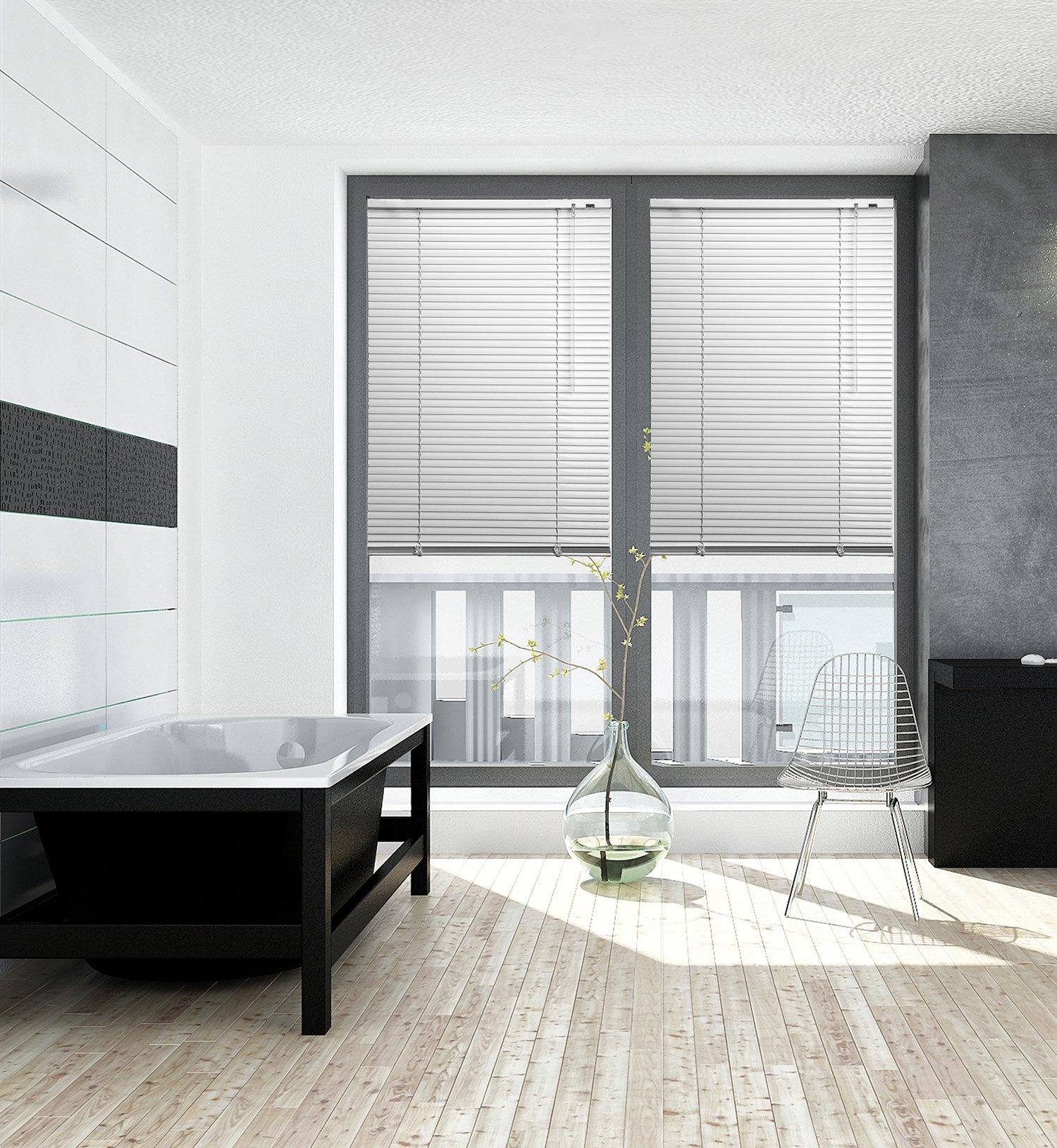 Persiana de aluminio para puertas y ventanas, Ancho de 50 Hasta 220 cm, altura 140/150/170/220/240 cm, montaje de techo y pared (opcional con enganches) en muchos colores, antracita, 140 x 170 cm: Amazon.es: Hogar