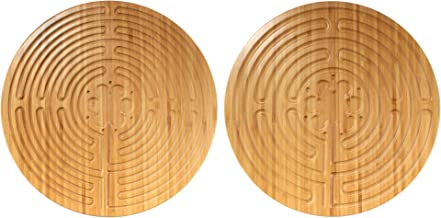 """BambooMN 12.5"""" Dia Carbonized Brown Bamboo Double Finger Labyrinth for Meditation and Prayer, Chartres Style, 1 Piece"""