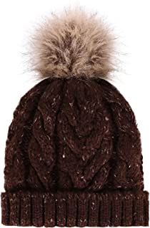 Women's Winter Soft Knitted Beanie Hat with Faux Fur Pom Pom