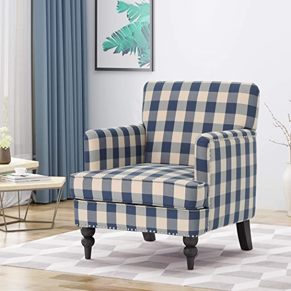 Christopher Knight Home 305560 Evete Tufted Fabric Club Chair Blue Checkerboard Dark Brown