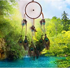 Seek4comfortable Dream Catcher,Large Indian Circle Wind Chimes Feather Traditional Style Pendant Wall Hanging Home Decoration Decor Ornament Gift,Peacock Feathers
