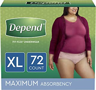Depend FIT-FLEX Incontinence Underwear for Women, Disposable, Maximum Absorbency, X-Large, Blush, 72 Count