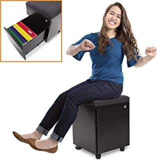 Stand Steady Vert - Rolling File Cabinet / 2 Drawer Mobile File Cabinet with Cushion Top | Small Filing Cabinet Delivers Convenient Storage, Key Lock, and an Extra Place to Sit! (Black)