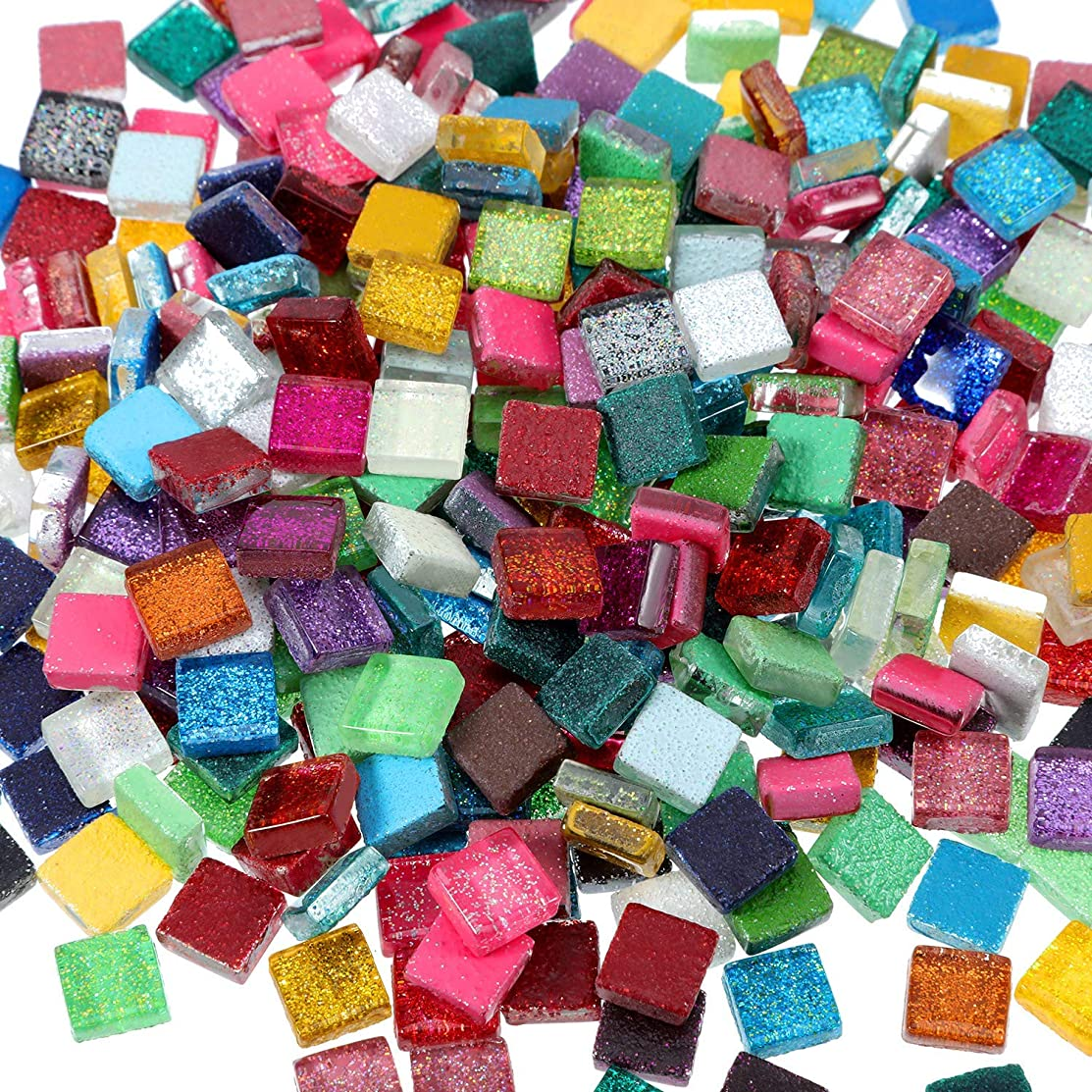 Yoogeer 200Pcs 1 by 1 cm DIY Glitter Crystal Mosaic for Home Decoration Crafts Supply