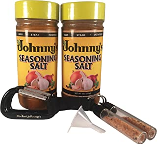 Johnny's Seasoning Salt 16 Oz (2) & Pocket Johnny's Refillable Travel Bottle Carabiner Keychain (2) Set