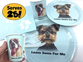 Funny Dog Themed Party Supplies (176 pcs) | Hilarious Party Supply Set for Dog and Puppy Lovers, Kids, Birthday | Disposable Large and Small Paper Plates, Cups, Napkins, White Tableware, Blue Tablecloth