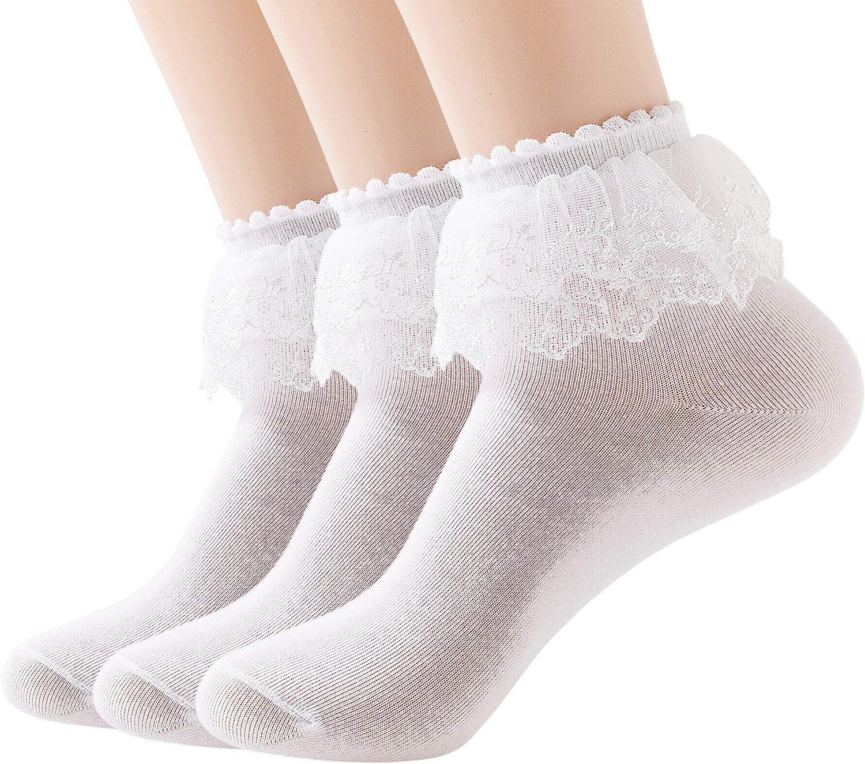 Vintage Style Socks- Knee High, Bobby, Anklet SEMOHOLLI Women Ankle Socks Lace Ruffle Frilly Cotton Socks Trim Double Layer Lace Princess Socks Dress Socks  AT vintagedancer.com