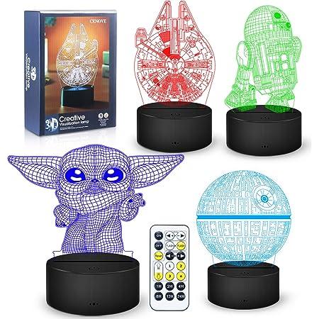 Details about  /7 Color Changing LED USB Night Light 3D Star Wars Home Desk Decor Lamp Kid Gifts