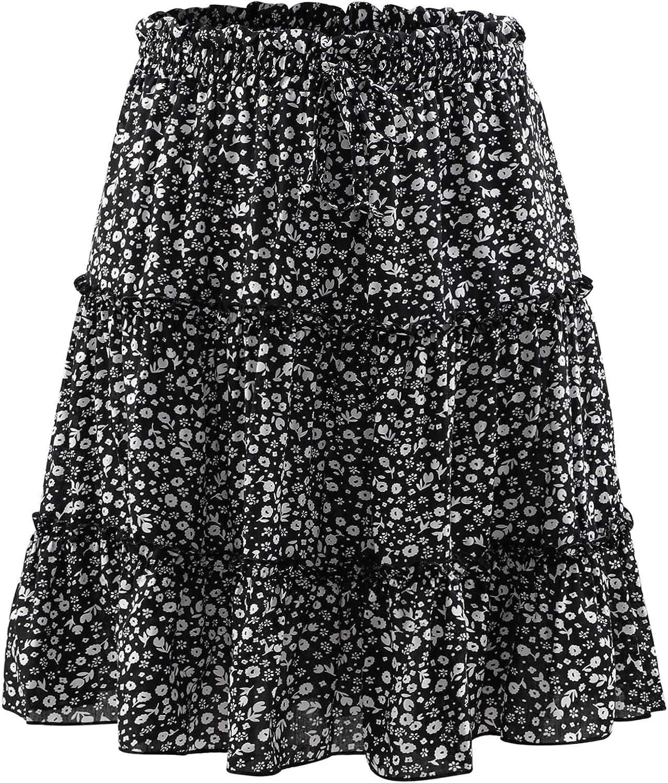 YIHUANG Women's High Waist Ruffle Skirt Floral Print Multi-Layer Mini Skirt