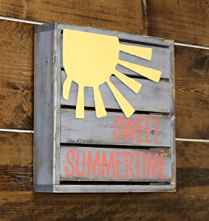 CELYCASY Coral Sweet Summertime Backlit Mini Pallet Style Sign with Metal Sun Embellishment