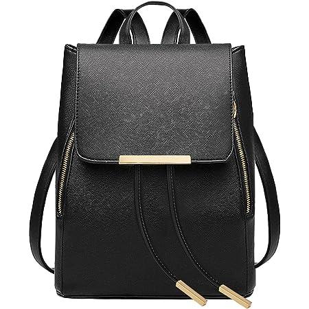 Leefrei Damen Rucksack Damen Tasche Leder Daypack Backpacks Freizeitrucksack (Vintage-Schwarz)