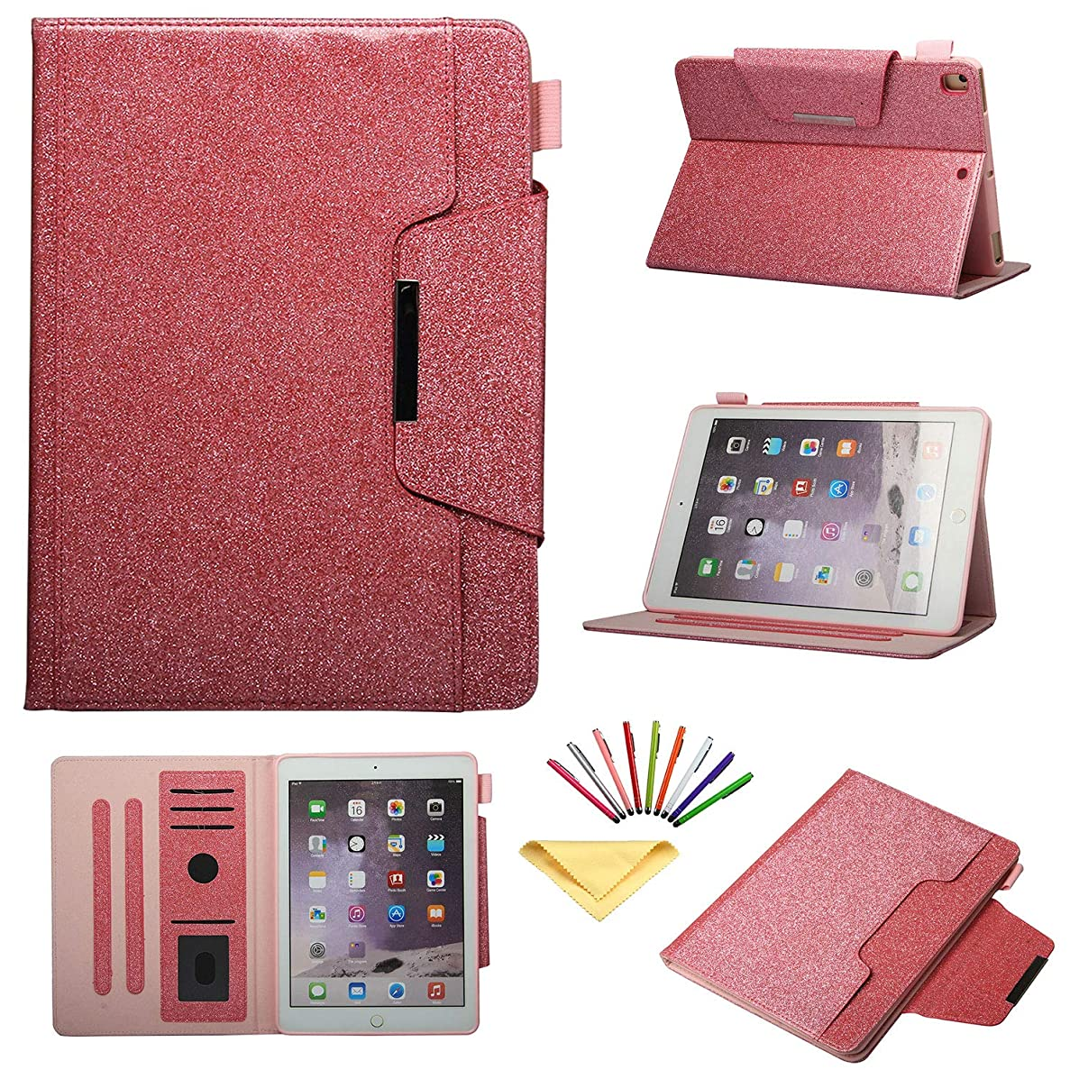 iPad 9.7 inch 2018 2017 (iPad 6th/5th Generation),for Apple iPad Air/Air 2, iPad Pro 9.7 2016 Case, Uliking Bling Smart Folio Stand PU Leather TPU Cover with Card Pencil Holder [Auto Wake/Sleep], Pink