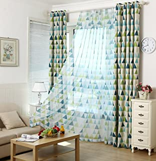 AliFish 1 Panel Geometric Figure Printing Transparent Sheer Curtains Triangle Pattern Living Room Sheer Tulle Curtains Rod Pocket Process for Children Kids Room W39 x L63 inch
