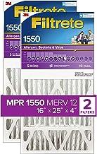 Filtrete 16x25x4, AC Furnace Air Filter, MPR 1550 DP, Healthy Living Ultra Allergen Deep Pleat, 2-Pack (exact dimensions 1...
