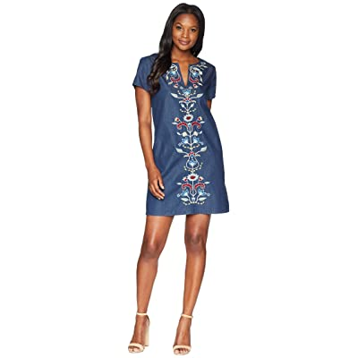 Pendleton Tala Embroidered Cotton Shift Dress (Dark Wash Multi) Women